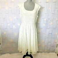 Torrid Womens Dress Size 1 Ivory Lace Detail Scoop Neck Sleeveless Lined Stretch