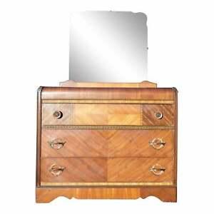 Vintage Art Deco Waterfall Dresser Bureau Chest of Drawers & Mirror Webb Furn.