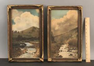 Pair Antique Western Landscape Hand Tinted Lithograph Photograph, Batwing Frames
