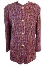 AQUASCUTUM Long Blazer Vtg 90s Boucle Tweed Artsy Blogger Avant Garde UK 14