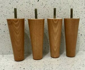 """4x Wooden Furniture Feet Legs For Sofa, Chairs, Stool, Table """"TEAK GLOSS"""" 5 inch"""