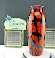 FENTON GLASS 2007 DAVE FETTY Orange and Black Brick Mosaic OOAK SIGNED