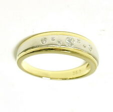 Ladies 14k White & Yellow Gold 1/7 Ct Diamond Unique Right Hand Band Estate Ring