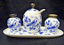 Vintage Rosenthal Blue and White Porcelain 4pc Condiment Set Salt, Pepper, & Mus