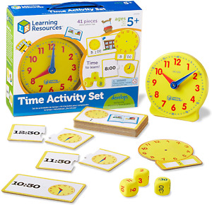 Learning Resources Time Activity Set, Homeschool, Analog Clock, Tactile 41 Ages
