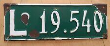 """URUGUAY PORCELAIN  VINTAGE AUTO  LICENSE PLATE """" L 19 540 """""""