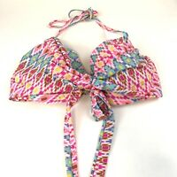 Victorias Secret Bikini Top 34DDD The Wrap Halter Pink Blue Aztec/Tribal Print