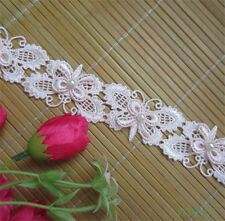 10pcs Butterfly Pearl Lace Trim Wedding Bridal Ribbon Applique DIY Sewing Craft
