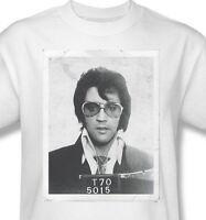 Elvis Presley T-shirt Mug Shot Arrest Photo 1970s retro white cotton tee Elv778