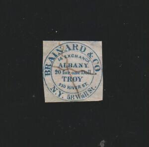Scott 24L2 Brainard & Co stamp in blue pen cancel repaired 2016 PF cert 27 known