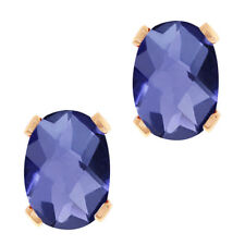1.30 Ct Oval Checkerboard Shape Blue Iolite Rose Gold Plated Brass Stud Earrings