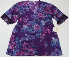 In Bloom by Jonquil Womens Purple Sheer Floral Print Short Robe Medium