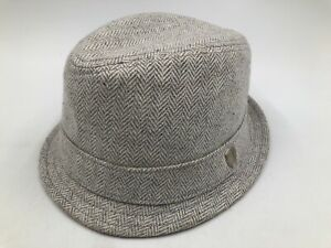 Ben Sherman Trilby Hat Grey Herringbone Fedora Cap Sz L/XL - Large / X-Large EUC