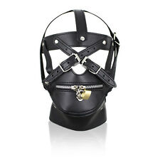 Latex Pu Leather Mask Zipper Mouth Fetish Slave Sexy Restraints Hood For Adult