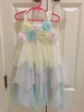 Euc Biscotti Girls Pastel Tiered Skirt Fancy Shimmery Floral Dress Size 4