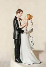 White and Silver Porcelain Bride Groom Romantic Wedding Cake Topper