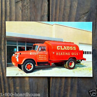 Vintage Original CLAUSS HEATING OILS OILS Delivery Truck Postcard 1950s NOS