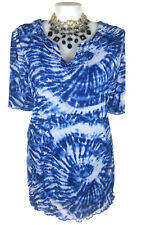 NWT AUTOGRAPH Top - Blue White Beaded Tie Dye Boho Hippy Stretch Knit Tshirt  22