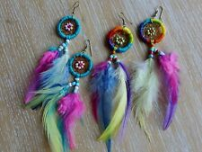 2 pr rainbow feather dream catcher earrings