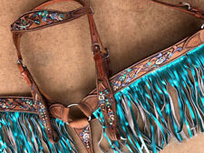 WESTERN SADDLE HORSE LEATHER TACK SET BRIDLE & BREAST COLLAR BLUE FRINGE