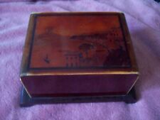 Vtg Wooden Cigarette Dispenser box 4 layers holds cigs 48 Decorative scene lid