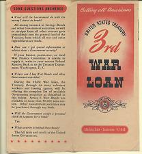 1943 UNITED STATES TREASURY 3RD WAR LOAN BROCHURE VG COND FREE WORLD SHIPPING