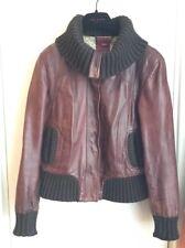 "Ted Baker ""Arlene"" Brown Leather Bomber Aviator Jacket Size 4 (14/16UK)70's look"