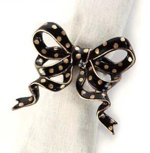 MacKenzie-Childs Dot Bow Napkin Rings  (SET OF 4) - Black & Gold