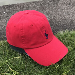 Polo Embroidered Pony Classic Cotton Baseball Cap Adjustable Hat RL2000 RED/BLUE
