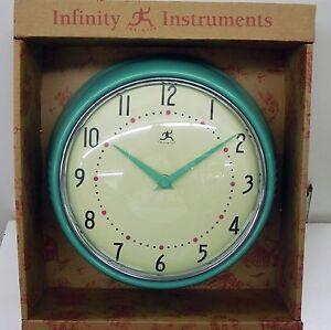 "INFINITY 8.5"" MINT GREEN WALL CLOCK  MODEL 10940-GREEN"