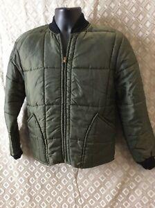 Vintage 1970s Stagway Puffer Liner green nylon Shirt Jacket M chore hunting farm