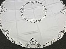 "Elegant Linen Embroidered Embroidery Tablecloth 72x72"" Round Fabric - White"