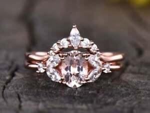 3 CT Oval Cut Morganite Vintage Wedding Band Bridal Ring Set 14k Rose Gold Over