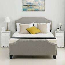 Twin Full Queen Platform Bed Frame Headboard Tufted Upholstered Wood Bedroom