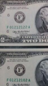 2 - 2003A $2.00 FANCY #s F01212102A & F01212122A - Gem CU