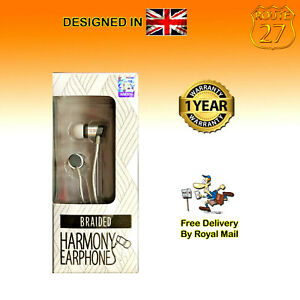 Juice Harmony Wired Earphones Braided Silver Gold Plated 3.5mm Jack