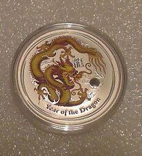 "Australian Lunar II ""Year of the Dragon"" (Yellow) 2012 1 Oz Silver coin"