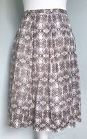 PURE COLLECTION White Brown Geometric Print Cotton Skirt UK 12 14 Pleated Pocket