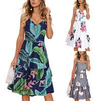 Women V-Neck Floral Midi Dress Ladies Sleeveless Ruffles Sundress Holiday Beach