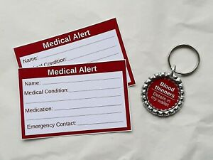 Blood Thinners Medical Alert Keyring & Cards by Curiosity Crafts