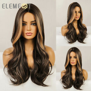Long Dark Brown with Highlights Blonde Wigs for Women Daily Cosplay Party Wig