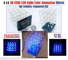 Azul 4X4X4 3D Nuevo Kit de Cubo de Luz LED hágalo usted mismo Proyecto para UNO escudo Arduino Reino Unido Libre