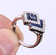 INVISIBLE SETTING SAPPHIRE .925 SOLID STERLING SILVER RING SIZE 8.5 #21397