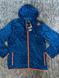 NWT! Adidas Mens Blue And Orange Patterned Hooded Wind Jacket, Size L 0rig $65