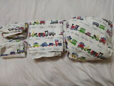 Pottery Barn Train Railroad Ryder Organic Cotton Full Sheet Set w/ 2 pillowcases