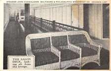 Baltimore Philadelphia Boat Steamer Cadwalader Salon Deck Postcard K78601