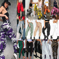 Womens Camo Cargo Trousers Casual Pants Military Combat Sports Joggers Harem