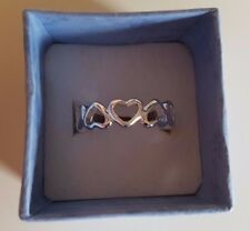 925 Sterling Silver Plated Band Ring with Cut-Out Hearts + Gift Bag