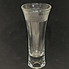 ANTIQUE Etched BUD VASE / Candle Holder Clear GLASS  7 inches High