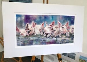 'Happy Hogs' pigs on a wall mounted print 80x50cm, painting by Julia Pankhurst